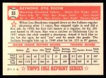 1952 Topps REPRINT #55  Ray Boone  Back Thumbnail