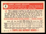 1952 Topps REPRINT #41  Bob Wellman  Back Thumbnail