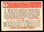 1952 Topps REPRINT #38  Wally Westlake  Back Thumbnail