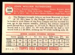 1952 Topps REPRINT #320  John Rutherford  Back Thumbnail