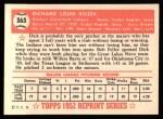 1952 Topps REPRINT #363  Dick Rozek  Back Thumbnail