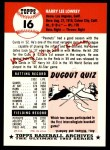 1991 Topps 1953 Archives #16  Peanuts Lowrey  Back Thumbnail