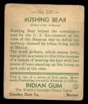 1933 Goudey Indian Gum #157  Rushing Bear   Back Thumbnail