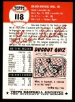 1991 Topps 1953 Archives #118  Gus Bell  Back Thumbnail