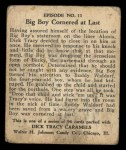 1931 Johnson Candy Dick Tracy #11   Big Boy Caught in the Act Back Thumbnail