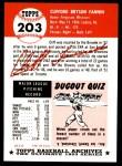 1991 Topps 1953 Archives #203  Cliff Fannin  Back Thumbnail