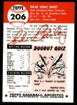 1991 Topps 1953 Archives #206  Ed Bailey  Back Thumbnail