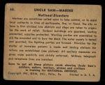 1941 Gum Inc. Uncle Sam Home Defense #65   National Disasters Back Thumbnail