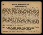 1941 Gum Inc. Uncle Sam Home Defense #38   Flight Instruction Back Thumbnail