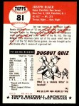 1991 Topps 1953 Archives #81  Joe Black  Back Thumbnail