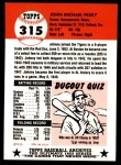 1991 Topps 1953 Archives #315  Johnny Pesky  Back Thumbnail