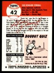 1991 Topps 1953 Archives #42  Gus Zernial  Back Thumbnail