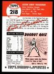 1953 Topps Archives #218  Les Fusselman  Back Thumbnail