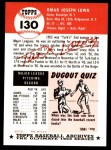 1953 Topps Archives #130  Turk Lown  Back Thumbnail