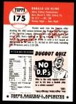 1953 Topps Archives #175  Ron Kline  Back Thumbnail