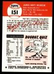 1953 Topps Archives #151  Hoyt Wilhelm  Back Thumbnail