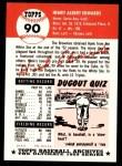 1953 Topps Archives #90  Hank Edwards  Back Thumbnail
