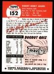 1991 Topps 1953 Archives #152  Bob Adams  Back Thumbnail