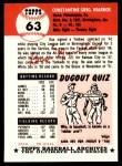1991 Topps 1953 Archives #63  Gus Niarhos  Back Thumbnail