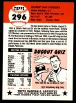1991 Topps 1953 Archives #296  Gil Hodges  Back Thumbnail