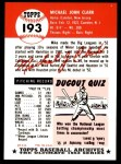 1953 Topps Archives #193  Mike Clark  Back Thumbnail