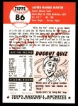 1991 Topps 1953 Archives #86  Billy Martin  Back Thumbnail