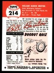 1953 Topps Archives #214  Bill Bruton  Back Thumbnail