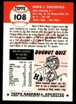 1991 Topps 1953 Archives #108  Bob Porterfield  Back Thumbnail