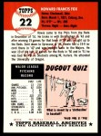 1953 Topps Archives #22  Howie Fox  Back Thumbnail