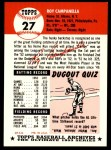 1991 Topps 1953 Archives #27  Roy Campanella  Back Thumbnail