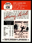 1953 Topps Archives #131  Harry Byrd  Back Thumbnail