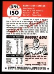 1953 Topps Archives #150  Harry Simpson  Back Thumbnail