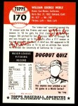 1953 Topps Archives #170  Bill Werle  Back Thumbnail