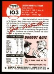 1953 Topps Archives #103  Joe Astroth  Back Thumbnail