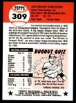 1953 Topps Archives #309  Leo Durocher  Back Thumbnail