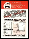 1991 Topps 1953 Archives #190  Dixie Walker  Back Thumbnail