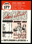 1953 Topps Archives #277  Don Lund  Back Thumbnail