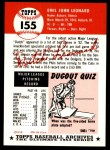 1953 Topps Archives #155  Dutch Leonard  Back Thumbnail