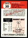 1991 Topps 1953 Archives #30  Willard Nixon  Back Thumbnail