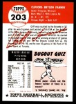 1991 Topps 1953 Archives #203  Cliff Fannin  Back Thumbnail