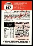 1953 Topps Archives #147  Warren Spahn  Back Thumbnail