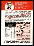 1991 Topps 1953 Archives #89  Chuck Stobbs  Back Thumbnail