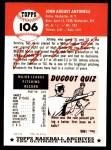 1953 Topps Archives #106  Johnny Antonelli  Back Thumbnail