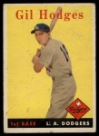 1958 Topps #162  Gil Hodges  Front Thumbnail