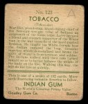1933 Goudey Indian Gum #123   Tobacco  Back Thumbnail