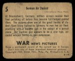 1939 Gum Inc. War News Pictures #5   German Air Student Back Thumbnail