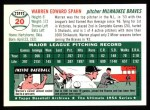 1954 Topps Archives #20  Warren Spahn  Back Thumbnail