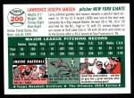 1954 Topps Archives #200  Larry Jansen  Back Thumbnail