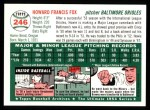 1954 Topps Archives #246  Howie Fox  Back Thumbnail