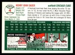 1994 Topps 1954 Archives #4  Hank Sauer  Back Thumbnail